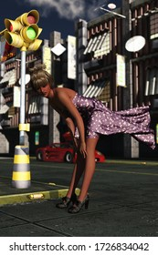 3D illustration of girl on city street with dress billowing due to sudden gust of wind
