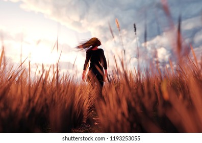 3d illustration of a girl walking alone in grass field