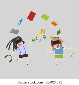 3d illustration. Girls reading with virtual reality set