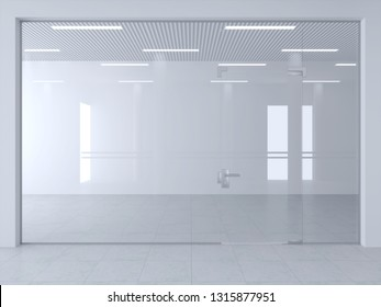 3d illustration. Glass partition and doors in office or shop hall.