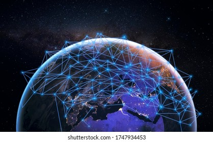 3D illustration of Global communication network over blue planet earth in space. Concept of worldwide wireless exchange of information and digital connection
