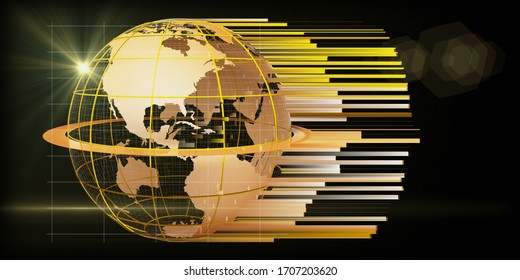 3d illustration global network background. Golden earth grid with map and blurred lines. For business, science, tech concept.