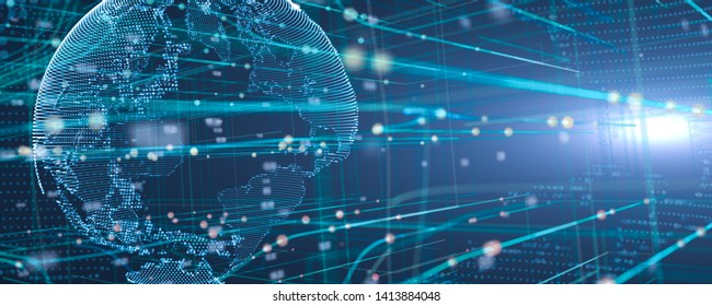 3D illustration of Global network and data connection  in 3d space Futuristic digital Abstract background for Business  and technology,banner background with copy space