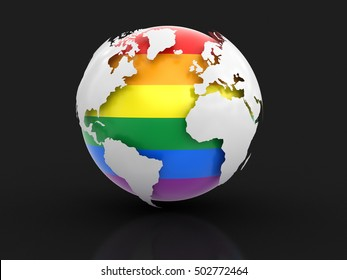 3D Illustration. 3d Globe with Gay Pride color. Image with clipping path. Elements of this image furnished by NASA