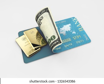 3D illustration of glossy blue credit card and gold bar isolated on gray background
