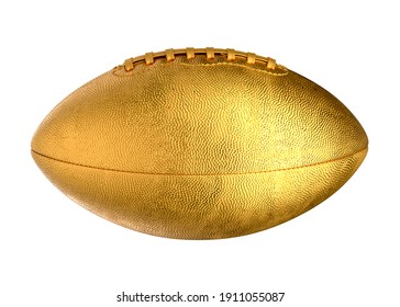 3D illustration of Gold American Football Ball isolated on white.
