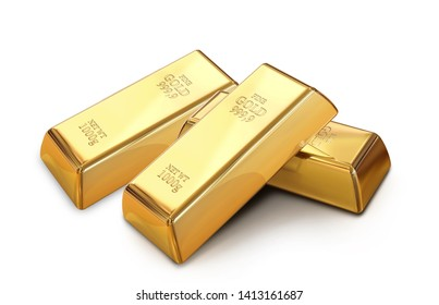 3d Illustration of Gold bars against white isolated background, Metal expensive saving Bullion