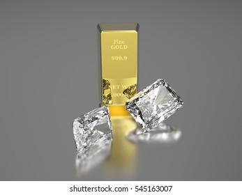 3D illustration gold bullion and two diamonds, gold bar on a gray background