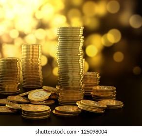 3D illustration of gold coin stack on blue background