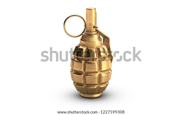 3d Illustration Gold Fragmentation Grenade F1 Stock