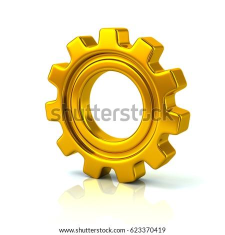 3 D Illustration Gold Gear Wheel Symbol Stock Illustration 623370419