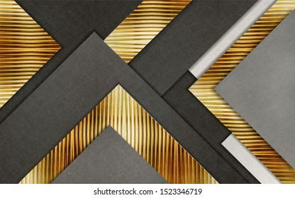 3D illustration gold and gray triangles, wallpaper decoration