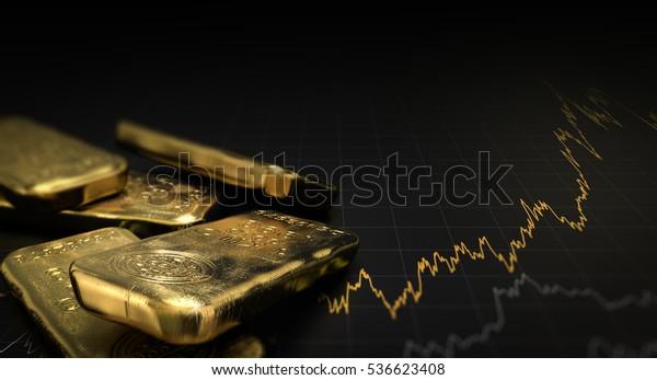 3D-Illustration von Goldbarren auf schwarzem Hintergrund mit einer Grafik. Finanzkonzept, horizontales Bild.