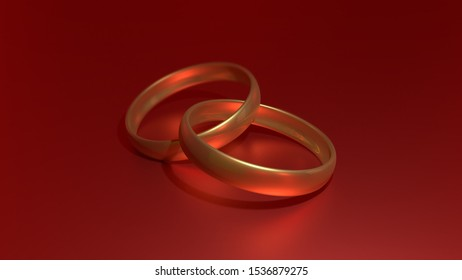 3D Illustration of Gold Rings Joined