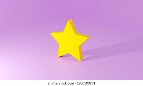 3D illustration of gold star on purple background
