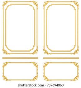 3d illustration gold stucco frame