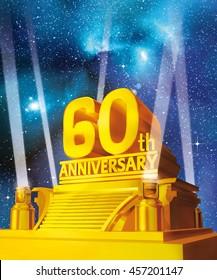 3D illustration of golden 60th anniversary on a platform