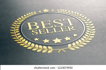 3D illustration of a golden best seller award over black paper background