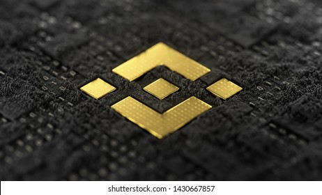 3d illustration of golden Binance Coin BNB symbol on a dark abstract background.
