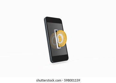 3D Illustration of Golden Bitcoin being inserted into coin acceptor on a smartphone. Mobile digital payments concept.