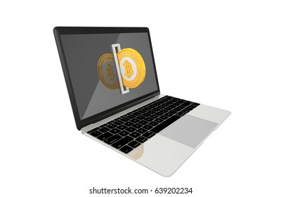 3D Illustration of Golden Bitcoin being inserted into coin acceptor on a laptop. Computer Virus demanding ransom payments in bitcoin concept.