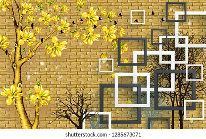 3d illustration, golden brick wall, white and dark gray square frames, dark contours of trees, golden tree with golden flowers, black flock of birds