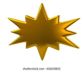 3d illustration of golden bursting icon isolated on white background