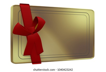 3D Illustration of Golden Card in perspective view