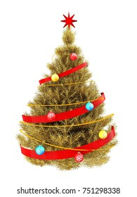 3d illustration of golden Christmas tree with neon over white background