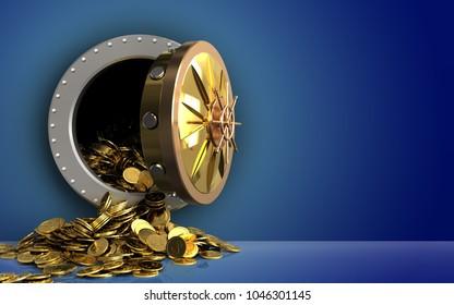 3d illustration of golden coins storage over blue background