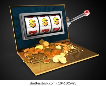 3d illustration of golden computer over black background with binary data screen and slot machine