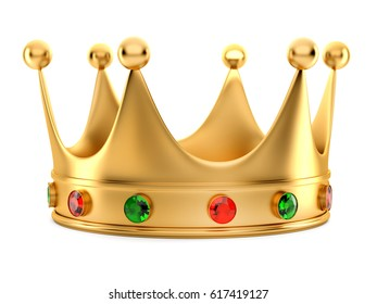 3D Illustration of Golden Crown on white background