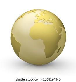 3D Illustration - Golden Globe on white - Europe