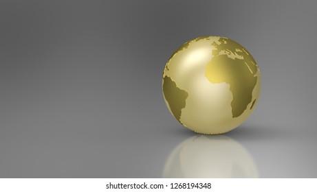 3D Illustration - Golden Globe on grey background - Europe