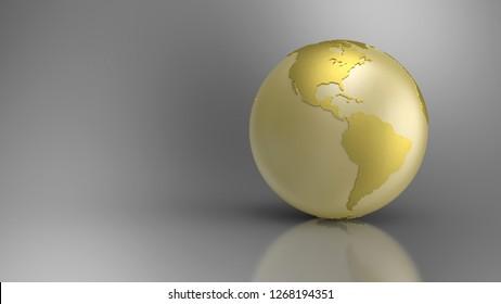 3D Illustration - Golden Globe on grey background