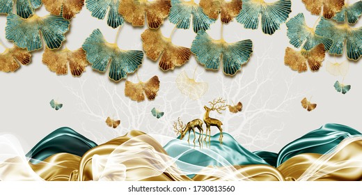 3d illustration of golden leaf and deer. Luxurious abstract art digital painting for wallpaper