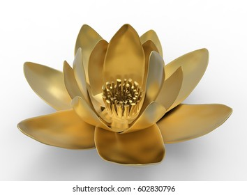 3d illustration of golden lotus. white background isolated. icon for game web.