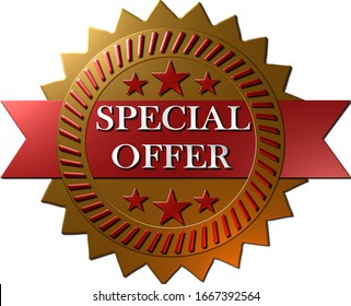 "A 3D illustration of a golden metallic seal with red metallic stars and text ""Special offer"" in white, isolated on a white background"