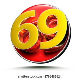 3D illustration Golden number 69 isolated on a white background.(with Clipping Path).