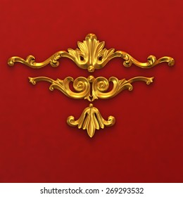 3d illustration of golden ornaments on a red background