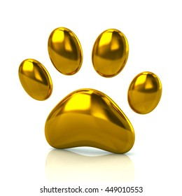 3d illustration of golden paw print icon isolated on white background
