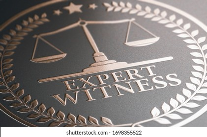 3D illustration of a golden stamp where it is written the text expert witness. Legal expertise.