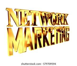 3d illustration. Golden text extensive network marketing on white background