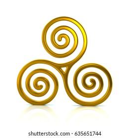 3d illustration of golden Triskele symbol isolated on white background