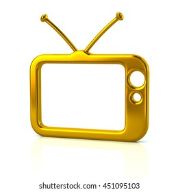 3d illustration of golden tv icon isolated on white background