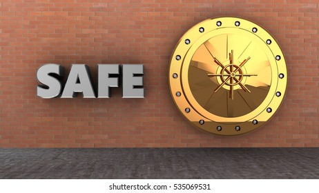 3d illustration of golden vault door over brick wall background with safe sign