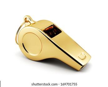 3d illustration of golden whistle over white background