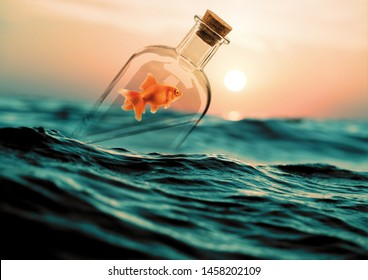 3D Illustration - Goldfish stuck in a glass bottle floating on the ocean at sunset. Single goldfish swimming in transparent bottle glass. Bottle floating around in water. Realistic digital drawing.