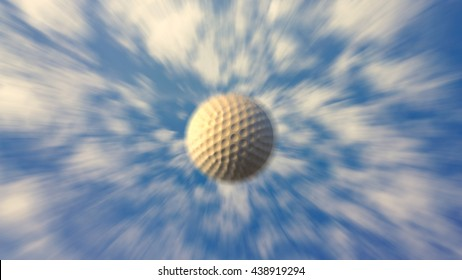 A 3d illustration of a golf ball flying through the air composited on a beautiful clear blue sky.