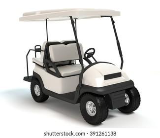3d illustration of a golf cart.